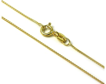 0.8mm 18ct Yellow Gold Dipped Sterling Silver Foxtail Chain for Men, Women, Girls or Boys - 14 16 18 20 24 28 inches