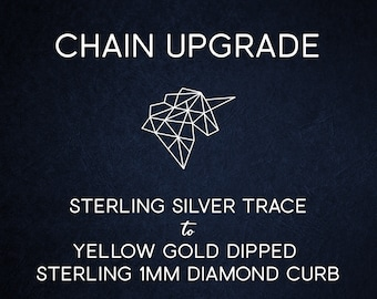 Chain Upgrade 1mm Diamond Cut Curb Chain * 14 16 18 20 22 24 28 32 inches * 9ct Yellow Gold Dipped Sterling Silver