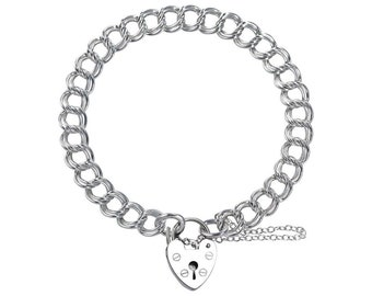 0.8mm Double Curb Bracelet Heart Lock Chain * 6 7 8 inches * Sterling Silver * Ideal for Clip Charms