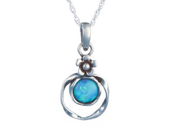 Personalized Sterling Silver Blue Opal Flower Necklace for Girls or Women * Organic Gemstone Pendant Design