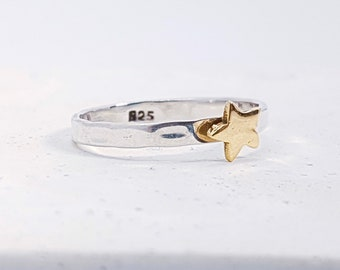 UK P Brass Star Stacking Ring * Sterling Silver * Slim Ring * Band Ring * Minimalist * Dainty * Hammered