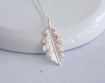 Sterling Silver Oak Leaf Necklace for Women or Girls * Personalized with 40 Characters * Oak Tree Nature Pendant Design