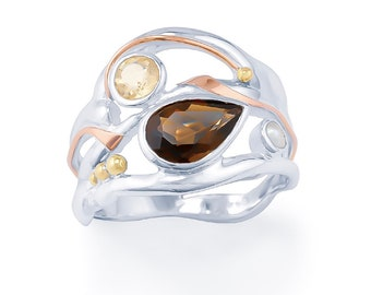 Sterling Silver Smokey Quartz, Citrine and Pearl Ring for Women * Organic Gemstone Ring