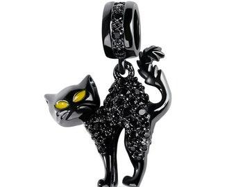 Black Cat Charm Bead * Sterling Silver * 4.5mm Inner Diameter * Fits most European Charm Bracelets