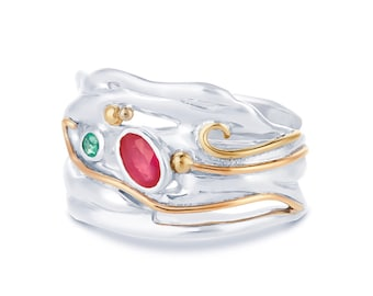 Sterling Silver Emerald and Pink Ruby Ring for Women * Personalized With Up To 40 Characters * Organic Gemstone Ring *