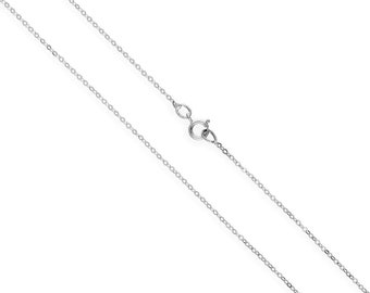 1mm Hammered Trace Chain * 16 18 20 24 inches * 9ct White Gold * Cable Chain