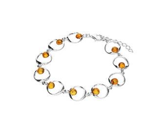 Sterling Silver Moon Bracelet for Women * Heritage Amber Gemstone Bracelet Design