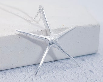 Sterling Silver Starfish Necklace for Men or Women * Ocean Fish Pendant Design