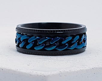 UK S Personalised Black, Blue Chain Spinner Ring * Stainless Steel * Boho * Anxiety, Meditation, Worry, Spinning Jewelry * Spin