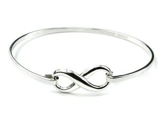 Personalised Infinity Bracelet * Sterling Silver * Personalised Bangle * Best Friend Gift * Dainty * Minimalist * Stacking * Bridesmaid