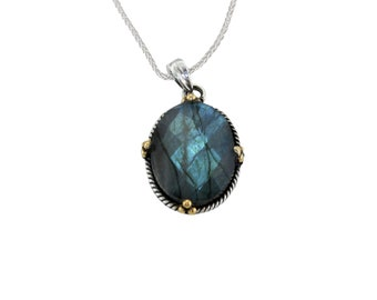 Personalized Sterling Silver Pendant Necklace with Labradorite Gemstone and Brass Pips