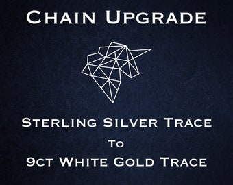 Chain Upgrade to 1mm Hammered Trace Chain * 16 18 20 24 inches * 9ct White Gold * Cable Chain