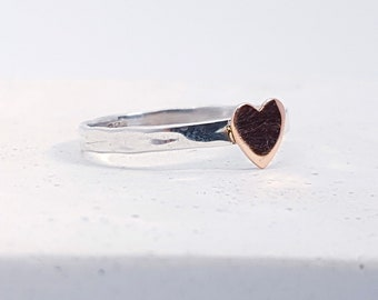 UK P Copper Heart Stacking Ring * Sterling Silver * Slim Ring * Band Ring * Minimalist * Dainty * Hammered