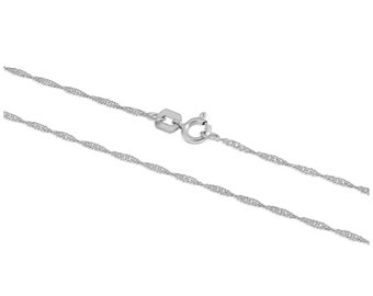 1mm Solid 9ct White Gold Singapore Chain for Women or Girls - 18 20 22 inches