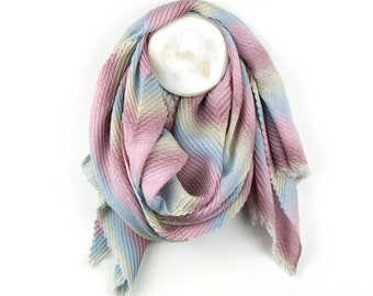 Personalised Pastel Pink Pleated Scarf with Chevron Stripes - 60cm x 180cm