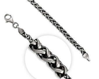 4mm Oxidised Wheat Chain * 8.25 inches * Sterling Silver * Oxidised