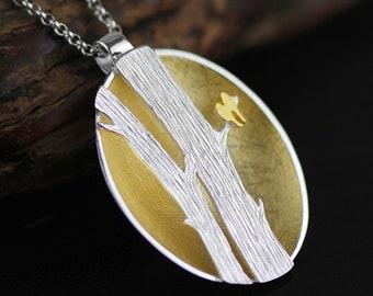 Personalised The Lovebirds * Sterling Silver * Bird Pendant * Bird Jewelry * Bird Gift * Bird Necklace * Woodland Bird *