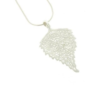 Sterling Silver Autumn Leaf Skeleton Pendant Necklace