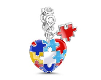 Autism Awareness Jigsaw Charm Bead * Sterling Silver * 4.5mm Inner Diameter * Fits most European Charm Bracelets
