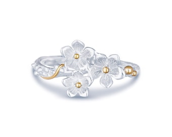Sterling Silver and 14ct Gold Flower Ring for Women or Girls * Personalized with 40 Characters * Nature Ring Design