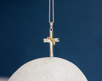 18ct Gold Dipped Halo Cross Pendant Necklace