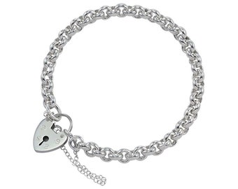 0.7mm Belcher Bracelet Heart Lock Chain * 6 7 8 inches * Sterling Silver * Ideal for Clip Charms