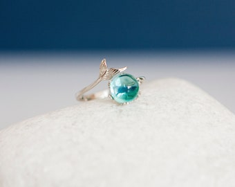Sterling Silver Adjustable Mermaid Crystal Ring