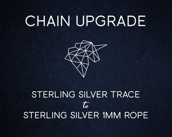 Chain Upgrade 1mm Rope Chain * 16 18 20 24 inches * Solid Sterling Silver * Best for Women, Girls