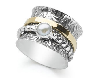 Personalised Pearl Spinner Ring * Sterling Silver * Boho * Anxiety, Meditation, Worry, Spinning Jewelry * Spin, Fidget