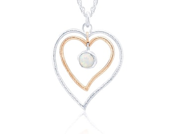 Sterling Silver and 14ct Rose Gold White Opal Heart Necklace for Women * Personalized With 40 Characters * Organic Gemstone Pendant Design *