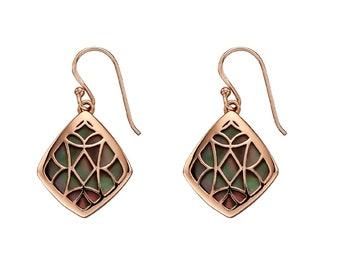 Rose Gold Dipped Sterling Silver Freshwater Black Pearl Earrings for Women * Organic Gemstone Earrings Design *