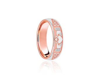 9ct Rose and White Gold Ring for Women or Men * Celtic Gold Wedding Band * 5mm 6mm 7mm 8mm