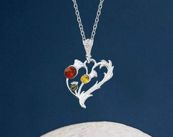Personalised Sterling Silver Mixed Amber Gemstone Thistle Pendant Necklace
