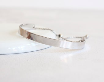 Sterling Silver Cuff Bracelet for Men or Women * Personalised with 40 Characters * Heritage Adjustable Celtic Slider Design