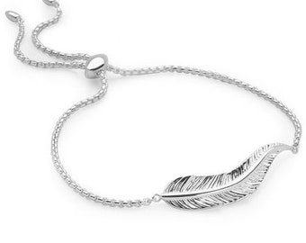 Personalised Feather Bracelet * Sterling Silver * Feather Bangle * Feather Jewelry * Mixed Metal Feathers * Feather Gift * Boho Bracelet