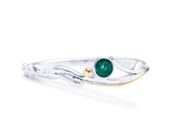 Personalized Sterling Silver Green Emerald Gemstone Ring for Women