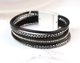 Personalised Black Leather Layered Crystal and Chain Detail Bracelet