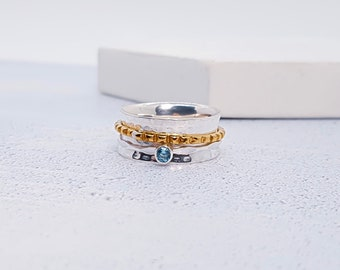 Personalized Sterling Silver Spinner Ring for Women * Wide Band * Custom Thumb Ring * Sky Blue Topaz Gemstone *
