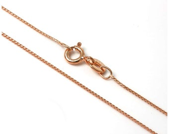 0.8mm 18ct Rose Gold Dipped Sterling Silver Foxtail Chain for Men, Women, Girls or Boys - 14 16 18 20 24 28 inches