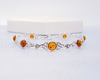 Sterling Silver Celtic Knot Bracelet for Women * Personalized With 40 Characters * Heritage Amber Gemstone Bracelet Design