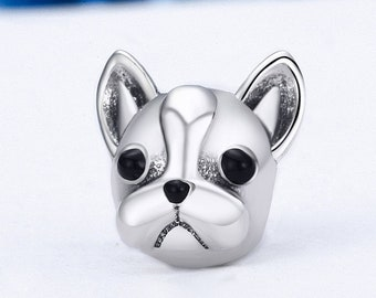French Bulldog Charm Bead * Sterling Silver * 4.5mm Inner Diameter * Fits most European Charm Bracelets