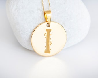 Personalised 9ct Yellow Gold Initial 'I' Alphabet Pendant Necklace