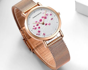 Personalised Rose Gold Pink Cherry Blossom Watch with White Dial