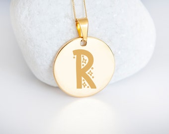 Personalised 9ct Yellow Gold Initial 'R' Alphabet Pendant Necklace