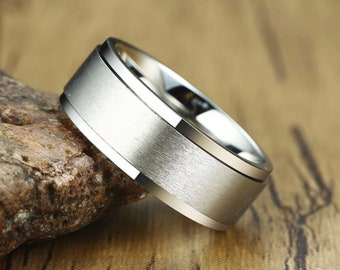 UK U / US 10 / EU 62.7 Stainless Steel Spinner Ring for Men * Custom Thumb Ring * 8mm Silver Brushed Finish *