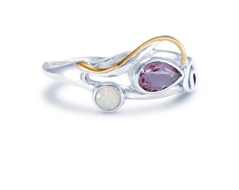 Sterling Silver Purple Amethyst and White Freshwater Pearl Ring for Women * Personalized With Up To 40 Characters * Organic Gemstone Ring *