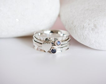 Sterling Silver Heart Spinner Ring with Moonstone and Iolite