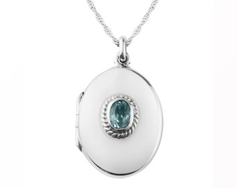 Sterling Silver Oval Locket Pendant Necklace with Faceted Blue Topaz