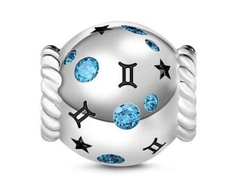 Gemini Zodiac Charm Bead * Sterling Silver * 4.5mm Inner Diameter * Fits most European Charm Bracelets