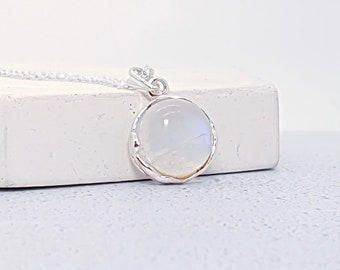 Personalized Sterling Silver Rainbow Moonstone Gemstone Pendant Necklace for Women